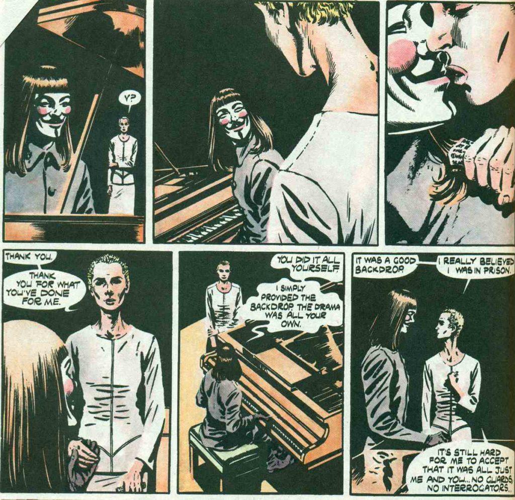 Evie kisses V, V for Vendetta