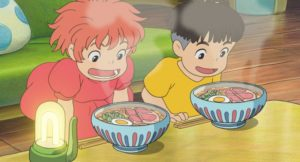 Ponyo and Sezuske stare over steaming bowls of ramen