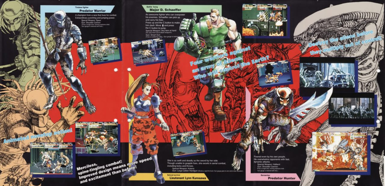 Alien vs Predator character select, via everygamerreview, AvP arcade Capcom, 1994