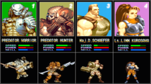 Alien vs Predator character select, via everygamerreview, AvP arcade Capcom, 1994