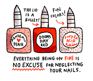 Panel from Gemma Correll's Fashion Tips for the Apocalypse featuring apocalypse-themed nail polishes.