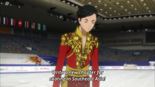 "Thai Skater, Pitchit, beginning his ""Shall We Skate"" routine. Image: Yuri!!! On Ice screenshot, MAPPA"