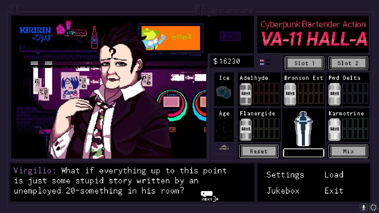 VA-11 HALL-A. Sukeban Games. Ysbryd Games. 2016.
