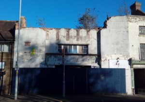 Buddleja growing on ruined club, St. John's, Worcester