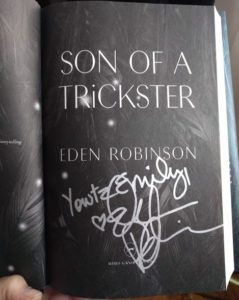 Signed title page of Son of a Trickster
