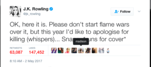 A tweet from author J.K Rowling apologizing for killing Snape