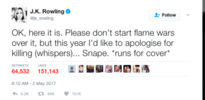 Author J.K Rowling's Tweet apologizing for killing Snape