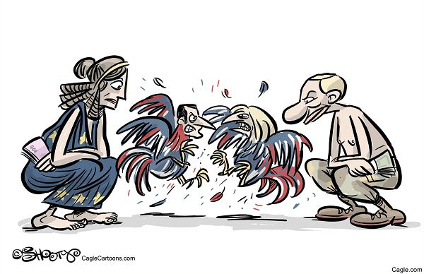 EU Putin Macron le Pen Cock Fighting by Martin Sutovec