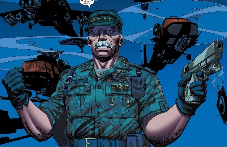 Thaddeus Ross in a military uniform, holding a gun in his left hand, helicoptors in the sky behind him. Art by John Romita Jr., Klaus Janson, and Christina Strain. From World War Hulk #2, September 2007, Marvel Comics.