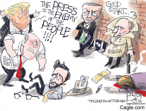 """Beat the Press,"" Sam Bagley. Syndicated by Cagle.com"