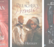 covers of a rogue by any other by sarah maclean, the preacher's promise by piper hugely, and top to bottom by delphine dryden