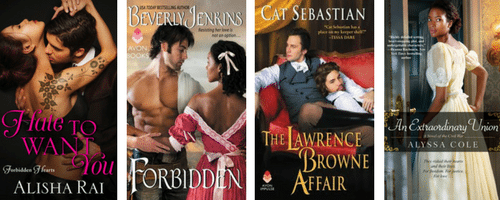 four romance covers: Hate to Want You, Forbidden, The Lawrence Browne Affair, and An Extraordinary Union