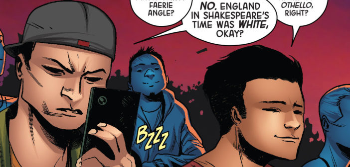 Angela: Queen of Hel #6, written by Marguerite Bennett, art by Kim Jacinto, colors by Israel Silva, lettering and production by Clayton Cowles