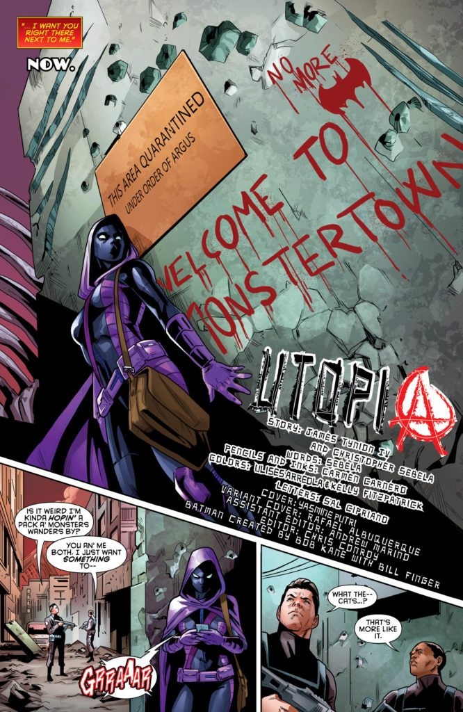 Detective Comics #963: story by James Tynion IV and Christopher Sebela, written by Christopher Sebela, pencils and inks by Carmen Carnero, colors by Ulises Arreola and Kelly Fitzpatrick, letters by Sal Cipriano