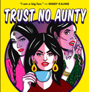 Screenshot of the book cover Trust no Aunty with three aunties on the cover