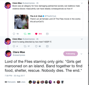 Tweets by Clara Mae on the female adaption of lord of the flies