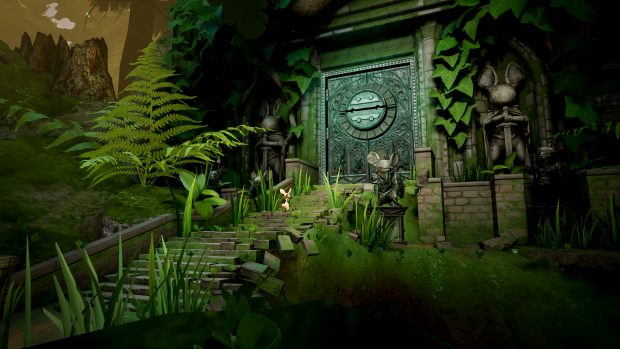 Quill stands before a door in Moss, the new VR game from Polyarc