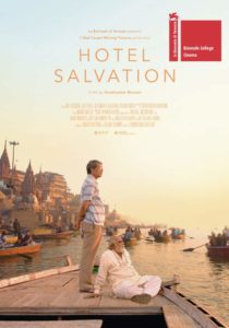 Hotel Salvation theatrical poster depicting an old man and his adult son besides a river at sunset