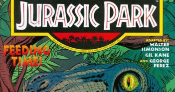Jurassic Park comic, cover drawn and inked by Gil Kane. Genesis story by Walter Simonson with Kane art and inks by Mike DeCarlo. Betrayal! story by Simonson with art by Kane and inks by Dick Giordano.
