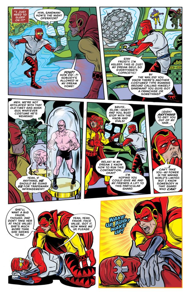 Bug! The Adventures of Forager #4: storytelling by Lee & Michael Allred, colors by Laura Allred, letters by Nate Piekos