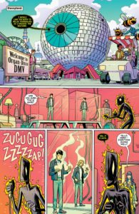 Doom Patrol #8: written by Gerard Way, pencils by Nick Derington, inks by Tom Fowler, colors by Tamra Bonvillain, letters by Todd Klein