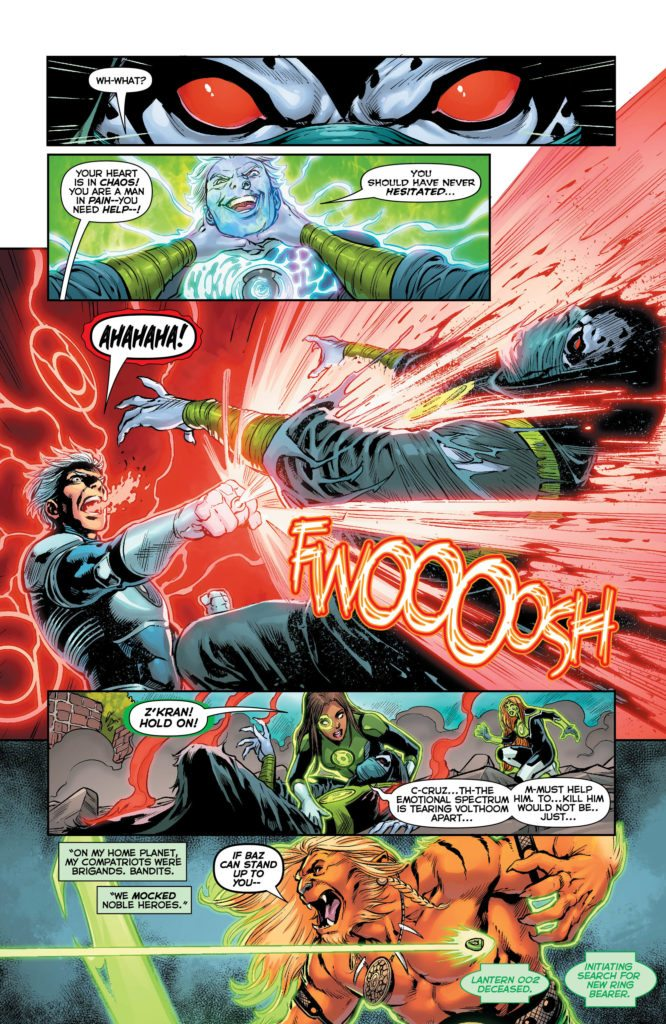 Green Lanterns #31: written by Sam Humphries, art by Ronan Cliquet, colors by Hi-Fi, letters by Dave Sharpe