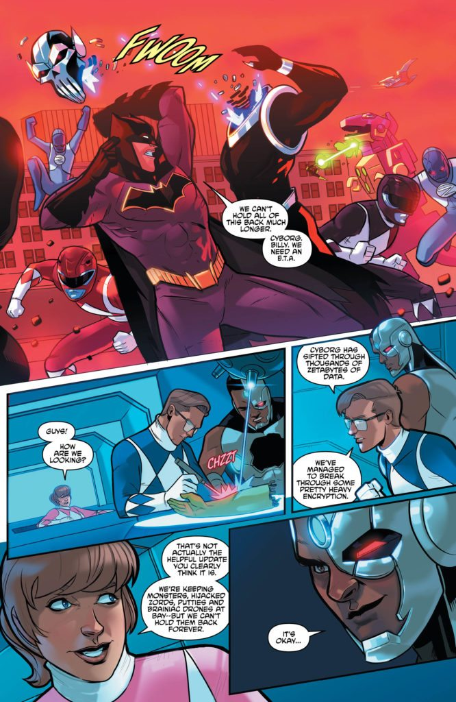 Justice League/Power Rangers #6: written by Tom Taylor, art by Stephen Byrne, other credits missing from review copy