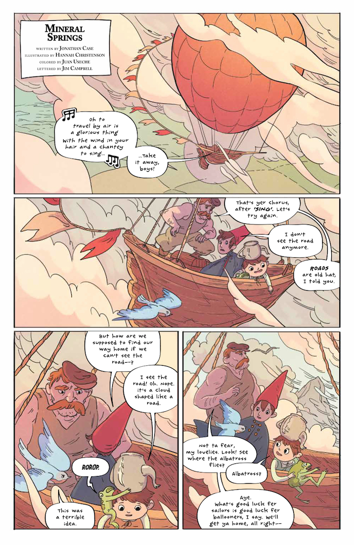 Over the Garden Wall 2017 Special #1 KaBOOM! Writers: Jonathan Case, Gris Grimly, Samantha Glow Knapp Artists: Hannah Christenson, Gris Grimly, Cole Closser