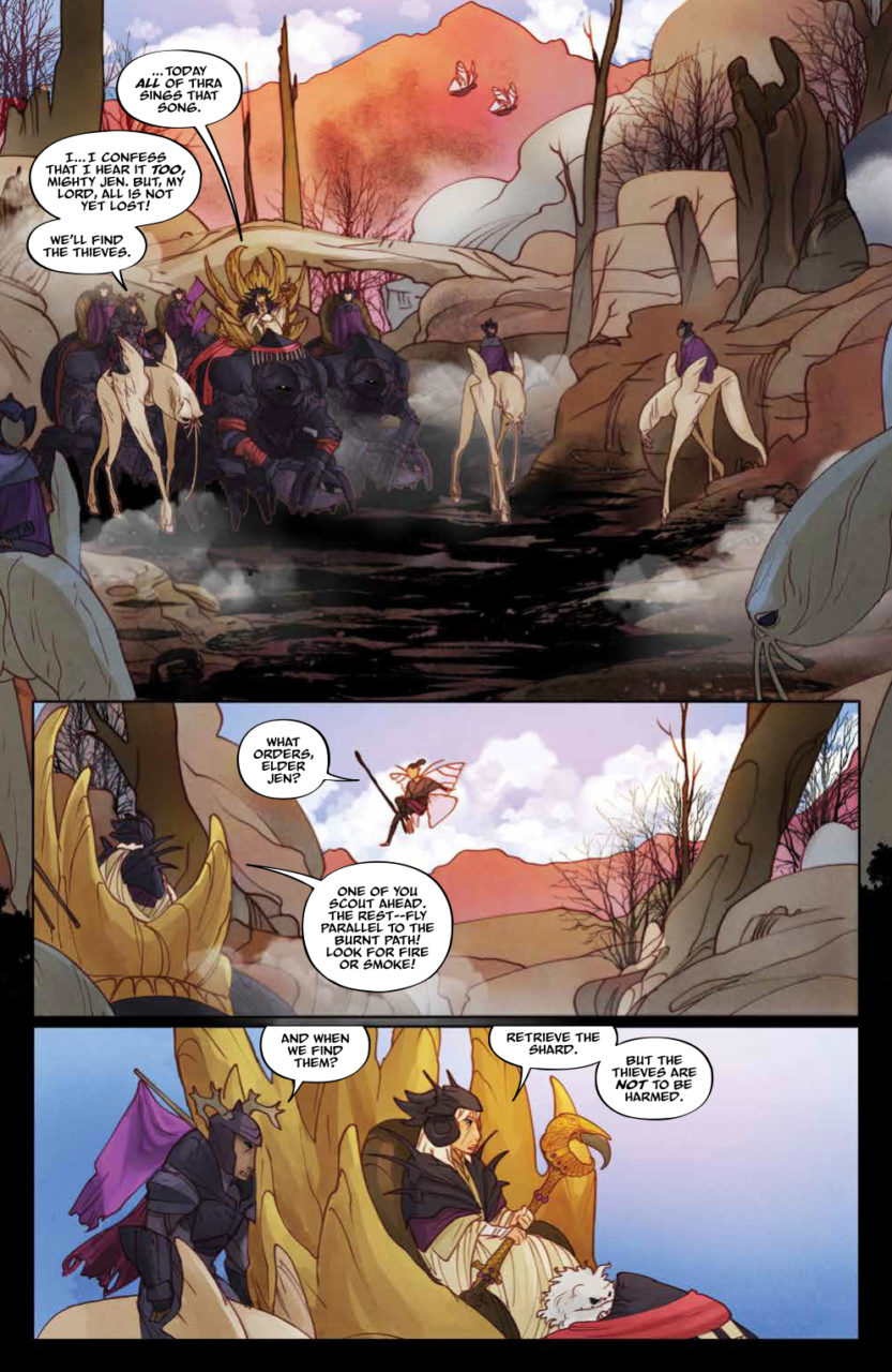 Power of the Dark Crystal #7 (of 12) Publisher: Archaia, an imprint of BOOM! Studios Writers: Simon Spurrier, Phillip Kennedy Johnson Artists: Kelly and Nichole Matthews Cover Artists: Main Cover: Mike Huddleston Subscription Cover: Sana Takeda