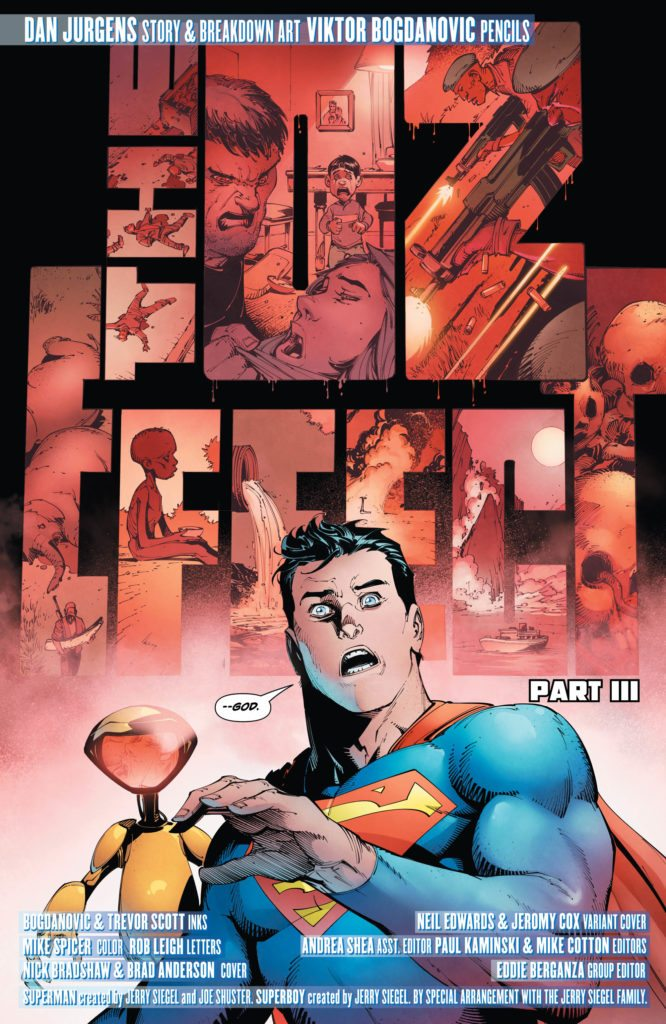 Action Comics #989: story and breakdown art by Dan Jurgens, pencils by Viktor Bogdanovic, inks by Bogdanovic and Trevor Scott, colors by Mike Spicer, letters by Rob Leigh