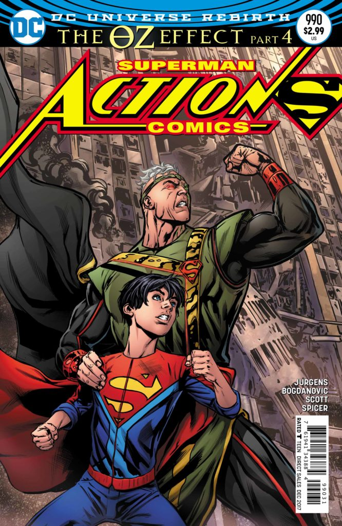 Action Comics #990: story and breakdown art by Dan Jurgens, pencils by Viktor Bogdanovic, inks by Viktor Bogdanovic, Trevor Scott, and Scott Hanna, colors by Mike Spicer, letters by Rob Leigh