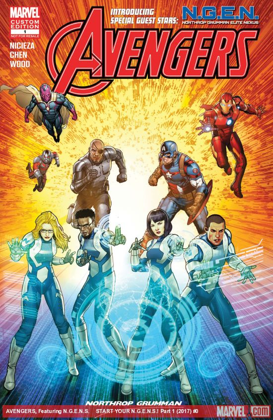 Avengers, including Captain America, Iron Man, Vision, Ant-Man, and Nick Fury behind four N.G.E.N. team members of mixed race/gender