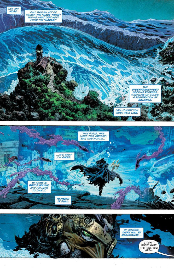Batman: The Drowned #1: written by Dan Abnett, art by Philip Tan and Tyler Kirkham, colors by Dean White and Arif Prianto, letters by Tom Napolitano