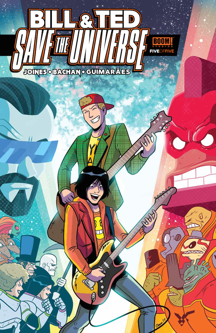 Bill & Ted Save the Universe #5 Publisher: BOOM! Studios Writer: Brian Joines Artist: Bachan Cover Artist: Derek Charm