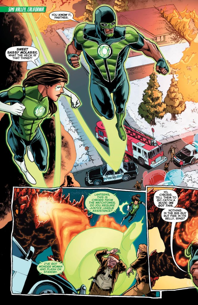 Green Lanterns: written by Sam Humphries, art by Scott Godlewski, colors by Hi-Fi, letters by Dave Sharpe