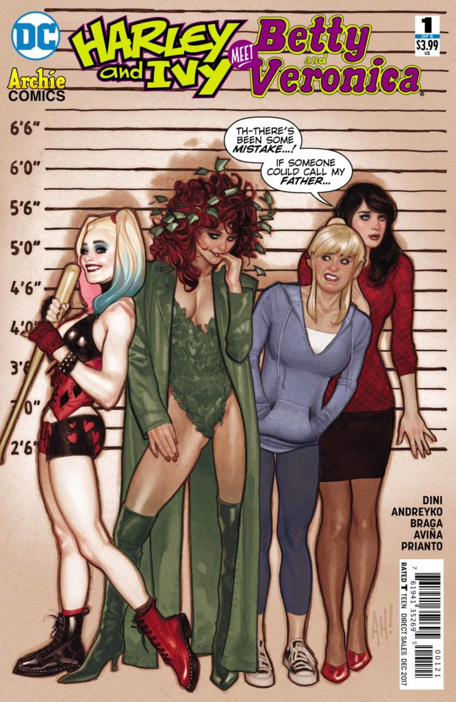 Harley And Ivy Meet Betty And Veronica #1: written by Paul Dini & Marc Andryeko, drawn by Laura Braga, colored by Tony Avina and Arif Prianto, lettered by Deron Bennett, variant cover by Adam Huges