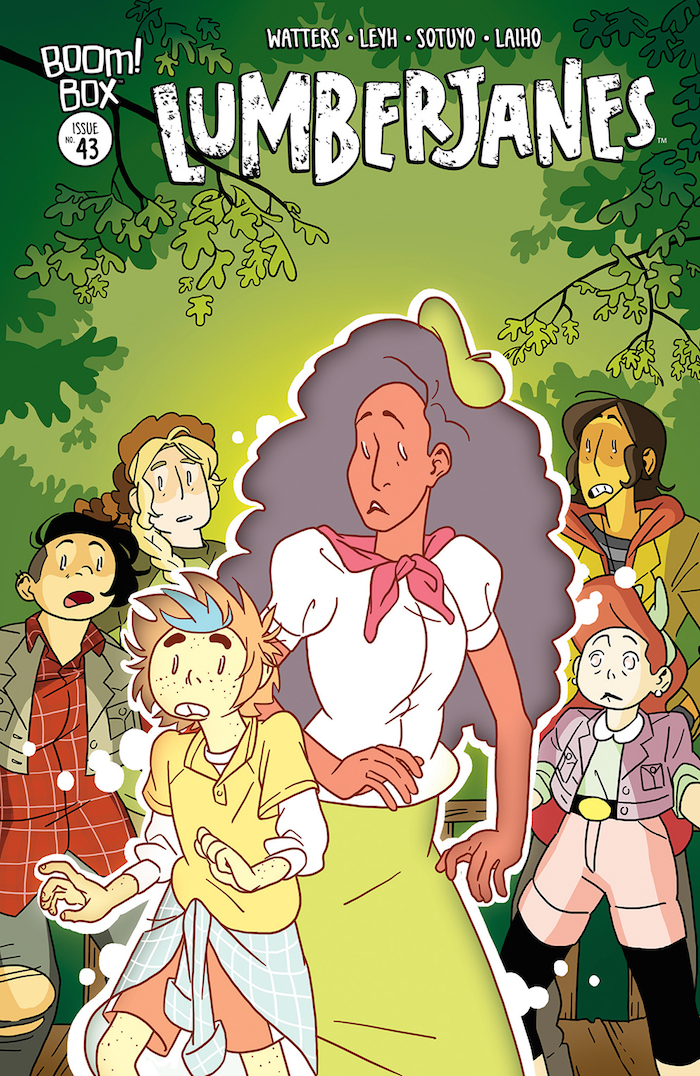Lumberjanes #43 Publisher: BOOM! Box, an imprint BOOM! Studios Writers: Shannon Watters & Kat Leyh Artist: Ayme Sotuyo Cover Artists: Main Cover: Kat Leyh Subscription Cover: Ayme Sotuyo