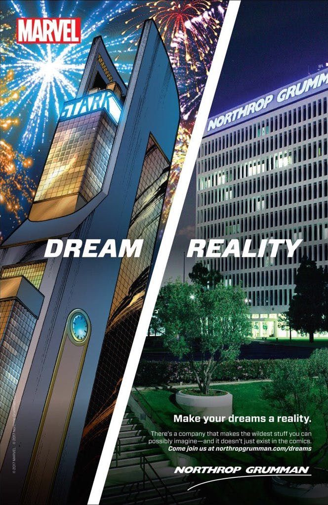 "Full page ad split between ""Dream,"" showing comic style drawing of Stark Industries, and ""Reality,"" showing photo of Northrop Grumman's headquarters"