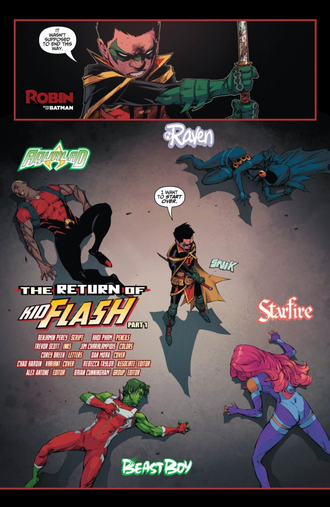 Teen Titans #13: written by Benjamin Percy, pencils by Khoi Pham, inks by Trevor Scott, colors by Jim Charalampidis, letters by Corey Breen