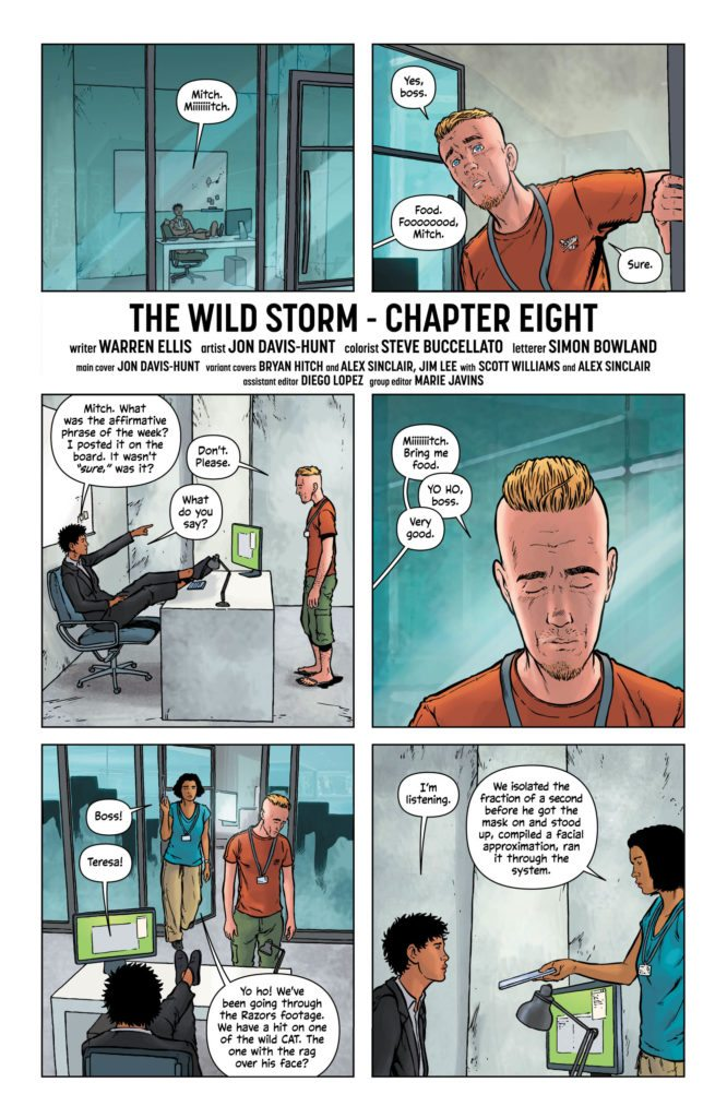 The Wild Storm #8: written by Warren Ellis, art by Jon Davis-Hunt, colors by Steve Buccellato, letters by Simon Bowland