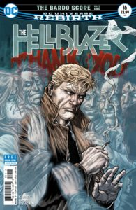 The Hellblazer #16 - Richard Kadrey (Writer), Davide Fabbri (Penciller), Jose Marzan Jr. (Inker), Carrie Strachan (Colorist), Sal Cipriano (Letterer), Jesus Merino and Carrie Strachan (Cover) - DC Comics - November 2017