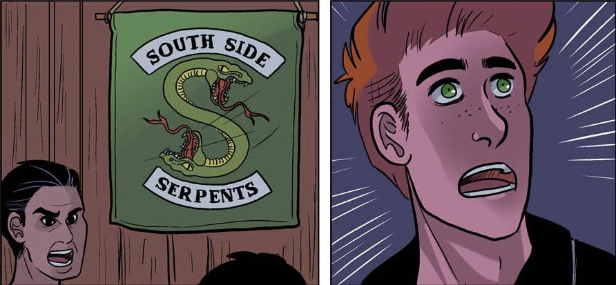 Archie is clearly afraid of the South Side Serpents. Betty & Veronica: Vixens issue 1, page 13 (cropped) by Jamie L. Rotante (script), Eva Cabrera (art), Matt Herms (colours), and Rachel Deering (letters). Archie Comics Publications. November 15, 2017.