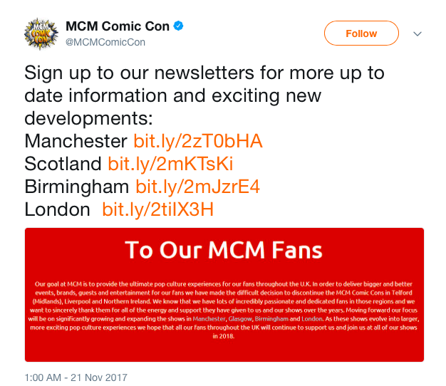 MCM Twitter Announcement, screenshot by WWAC