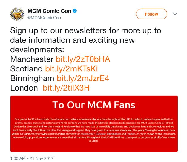 MCM Twitter Announcement, screenshot by WWAC