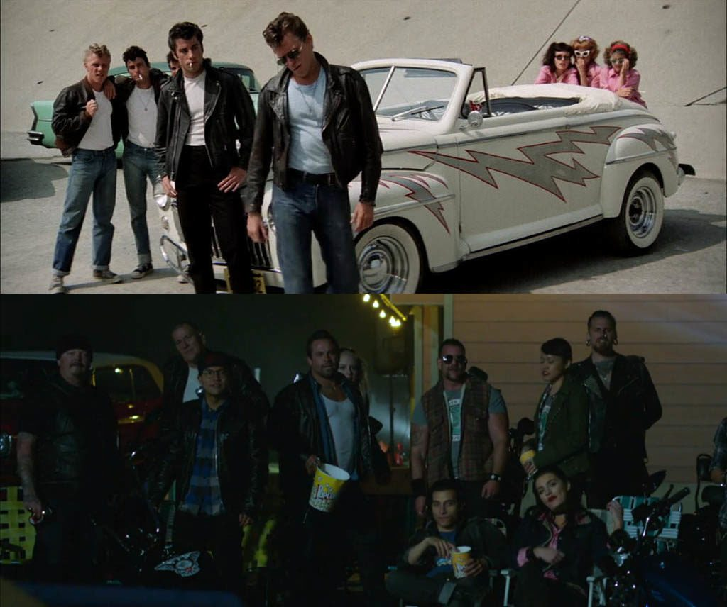 Above: Grease, Paramount Pictures. Randal Kleiser (dir). Kelly Ward (Putzie), Michael Tucci (Sonny), Barry Pearl (Doody), John Travolta (Danny), Jeff Conaway (Kenickie), Jamie Donnelly (Jan), Didi Conn (Frenchy), and Dinah Manoff (Marty). 1978. Below: Riverdale Season 1 Episode 4, CW, Mark Piznarski (dir). February 16, 2017.