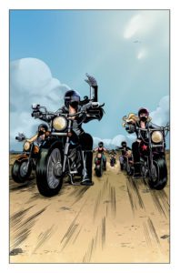 The girls take to the biker life surprisingly well. Betty & Veronica: Vixens issue 1, page 1 by Jamie L. Rotante (script), Eva Cabrera (art), Matt Herms (colours), and Rachel Deering (letters). Archie Comics Publications. November 15, 2017.