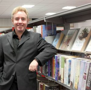 Mark Millar at Coatbridge Library, courtesy of Daily Record
