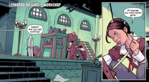 Yellows and blue-greens wash Leonardo da Vinci's lab at dawn. Monstro Mechanica #1; Paul Allor (writer), Chris Evenhuis (artist), Sjan Weijers (colorist;) Aftershock; December 2017; Image courtesy Paul Allor and Aftershock.