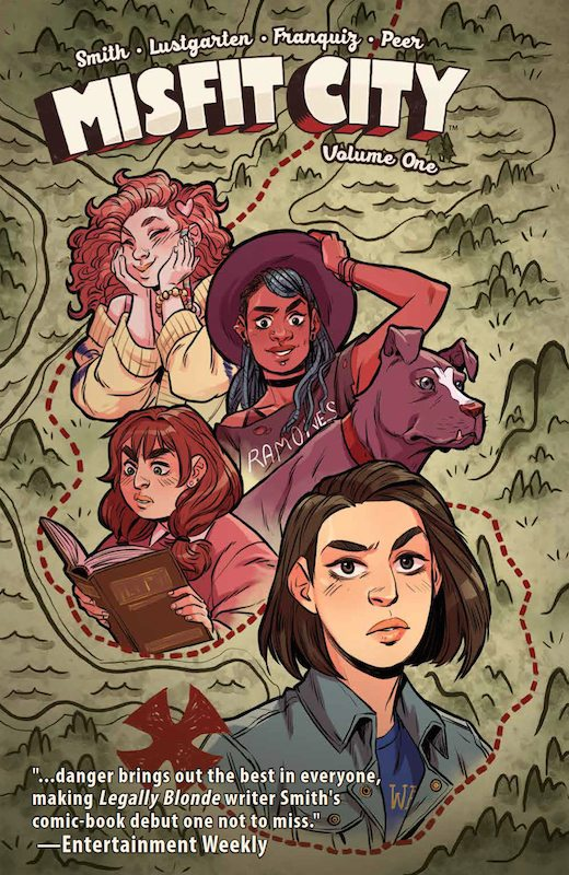 "Misfit City Vol. 1 SC Release Date: 12/13/2017 Publisher: BOOM! Box, an imprint of BOOM! Studios Writers: Kirsten ""Kiwi"" Smith and Kurt Lustgarten Artist: Naomi Franquiz Cover Artist: Naomi Franquiz"