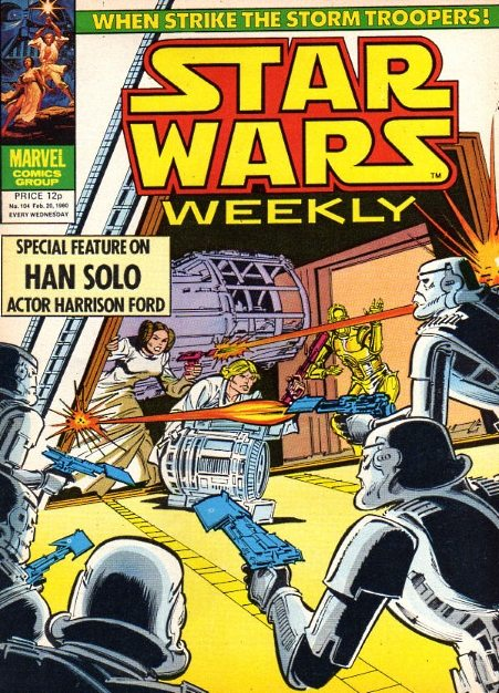 Star Wars Weekly #104 Cover dated: February 20th, 1980 Issue title: The Weapons Master!, Part 1 Script: Archie Goodwin Artwork: Carmine Infantino (pencils)/Steve Mitchell (inks) Tones: Howard Bender Letters: Joe Rosen Cover art: Carmine Infantino (pencils)/Bob Wiacek (inks)